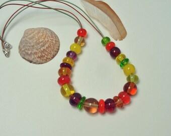 Fruit Loop - Artisan lampwork beaded necklace - Lampwork jewelry by Loupiac