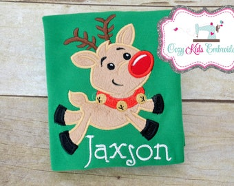 Reindeer applique shirt girl kid child toddler infant baby custom embroidery monogram name personalized