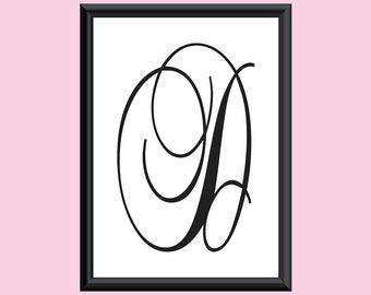 Typography DIGITAL PRINT Monogram Initial Wall Art BrockScript Letter D 5x7