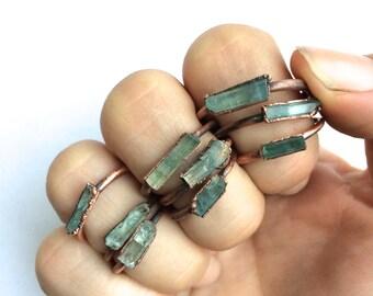 Aquamarine crystal ring | Raw aquamarine ring | March birthstone ring | March Birthstone jewelry | Aquamarine raw crystal ring