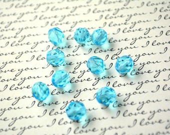Czech Glass Beads - Transparent Aquamarine - Sky - Blue Turquoise -  6 mm or 8mm - Faceted Round Beads - Fire Polished (B23)