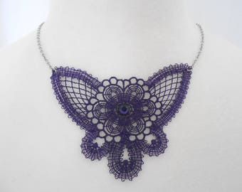 lace necklace with stainless steel chain