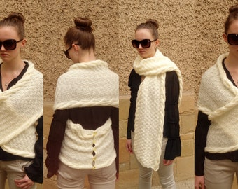 Knitted  Shawl, Multifunctional Transformer Shawl,  Champagne Cross Sweater, Vest Capelet Neck warmer