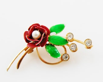Vintage Dark Red Flower Brooch