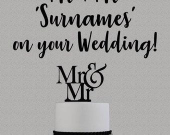 Wedding Cake Greetings Card 'Congratulations Mr & Mr on your Wedding'