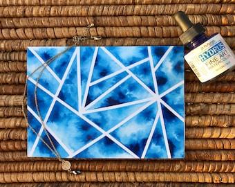Blue Tye Dye Blank Card - Print