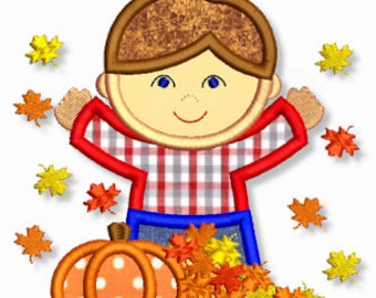 FALL Leaves BOY Applique 4x4 5x7 6x10 7x11 Machine Embroidery Design  INSTANT Download
