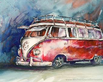A Deluxe 15 Window VW Bus - Watercolor Painting Print by Michael David Sorensen. Split Window Bus. Volkswagen Van. Classic Car Art. Red.