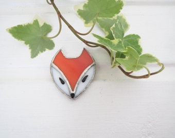 Fox brooch, stained glass fox, pendant, glass jewelry