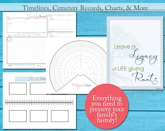 Genealogy Chart Kit Family Tree Planner Research w/Guide - Notebook Printables