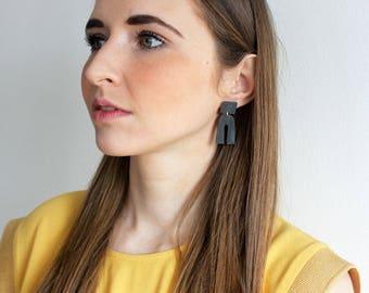 Black matted geometric dangle earrings, geometric earrings, long black earrings