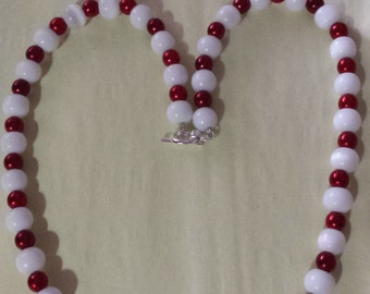 Item 47- Red & White Necklace and Bracelet Set