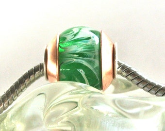 Handmade Artisan Lampwork Glass Big Hole Bead fits all European Slider Charm Bracelets - Green Emerald City of OZ BHB