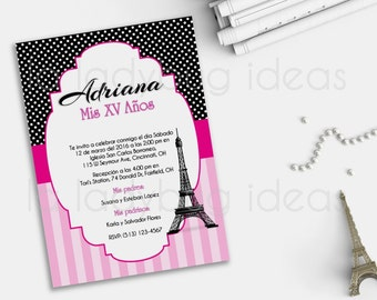 Paris Pink/black XV Años Printable Invitation, Wedding Invitation, Bridal shower invitation