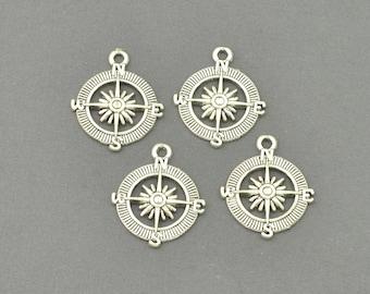 Antique Silver Tone Compass Charm (AS00-0103)