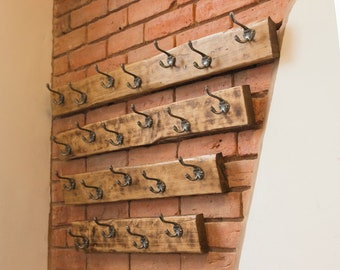Wall mounted coat rack / coat hook/ coat hanger from reclaimed scaffolding boards with cast iron hooks