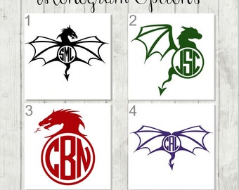Dragon Monogram Decal, Dragon Decal, Monogram Decal, Vinyl Decal