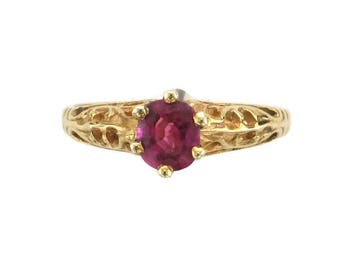 Yellow Gold Filigree Ring Set with Ruby, Ruby Ring, Filigree Ruby Ring, Yellow Gold Filigree, Ruby Solitaire, July Birthstone