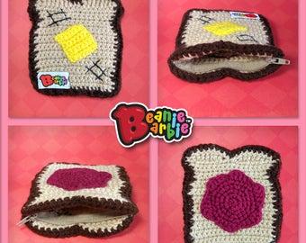Butter & Jelly Toast crochet divided zipper pouch