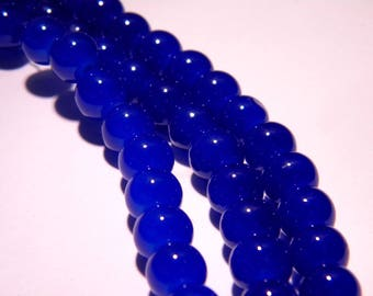 "50 beads glass light - 8 mm - way ""jade"" - bright royal blue - PG90"