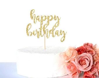 Gold glitter happy birthday cake topper, glitter cardstock paper cake decoration