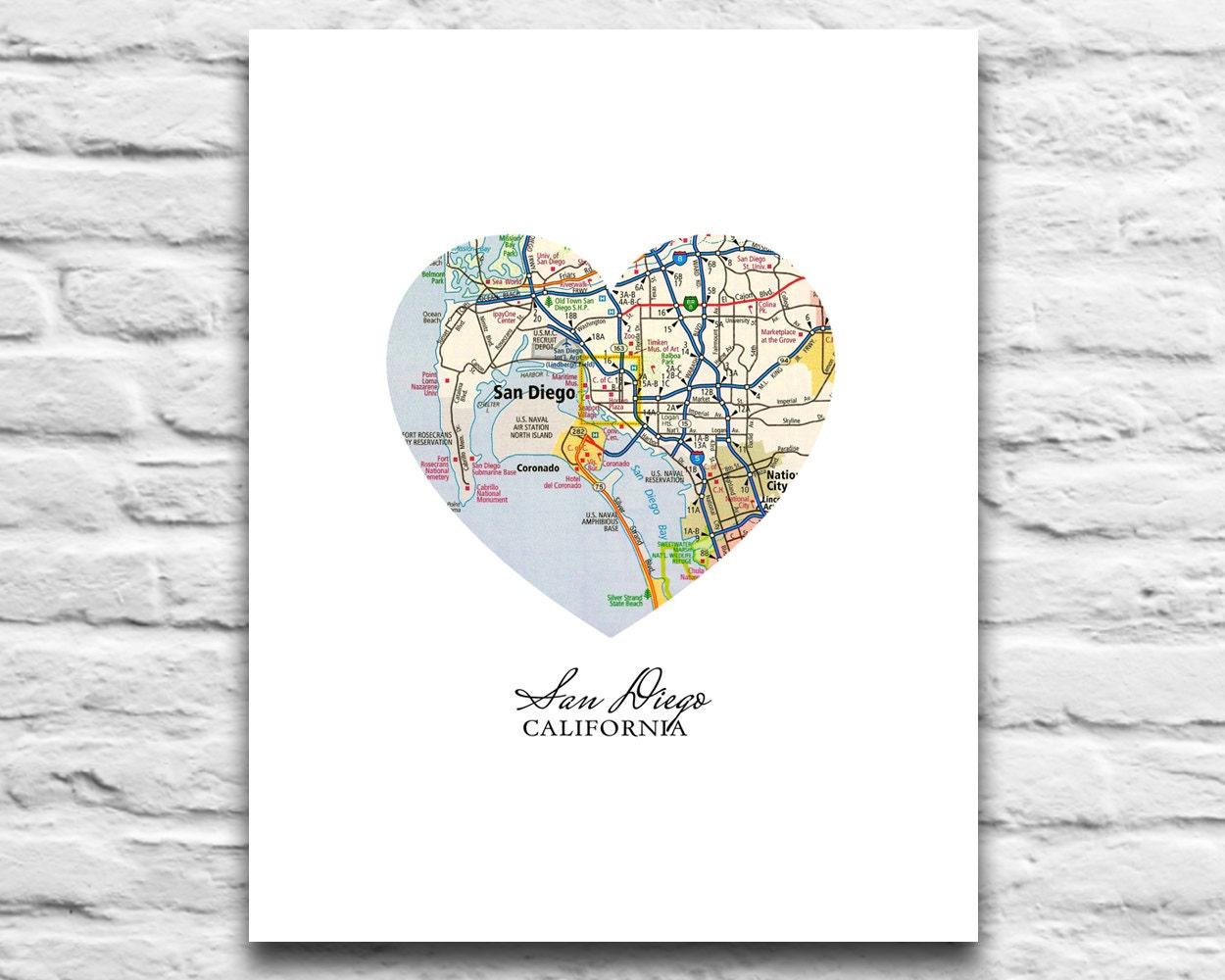 San Diego California Vintage Heart Map DIGITAL DOWNLOAD for