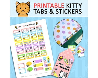 PRINTABLE Cute Kawaii Kitty Tabs Stickers Dividers for Filofax Organizer Instant Download