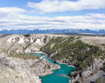 Flathead River, Blues of Mountain River and Sky, Montana Landscape, Photograph or Greeting card