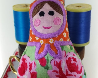 Cute Russian Doll, Matryoshka doll, Babushka Decoration For All Celebrations or Home Decoration Machine Embroidery Crafted From Soft Cotton