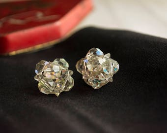 Vintage Glass Crystal Cluster Clip On Earrings