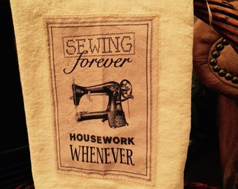 Antique sewing machine floursack tea towel