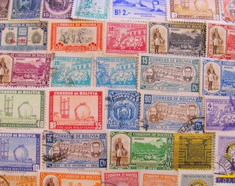 Straight from Bolivia 50 Vintage Bolivian Postage Stamps Plurinational State of Bolivia Sucre Latin Love Steampunk South American Philately