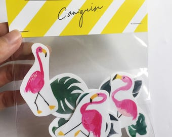 Pink flamingo stickers, monstera leaf sticker pack, vinyl sticker, tropical leaf planner stickers pack