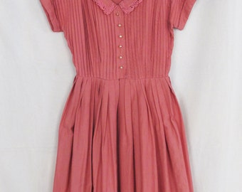 Vintage 50's raspberry coral red shirtwaist dress