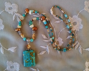 Turquoise statement necklace, Turquoise citrine, freshwater pearl beaded pendant statement necklace
