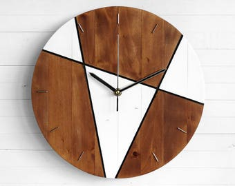 Wall Clock, Indian Decor, Industrial Clock, Wooden Clock, Living Room Decor, Rustic Lamp, Round Lamp, Primitive Country Decor, Gift Clock