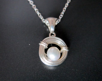 Mothers Day Gift-Silver Birds Nest Necklace-Baby Shower Gift-White Pearl-New Mom-Sterling Nest