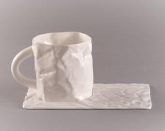 Set of Crumpled Coffee Mug 250 ml and Saucer Bone Porcelain