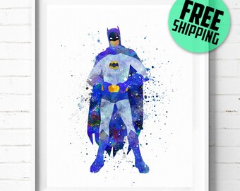 Batman print, Superhero poster, Batman poster, Classic Batman, Superhero print, Batman abstract, DC Comic art print, wall art, kids Decor 15