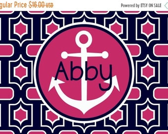 Memorial Day Sale Personalized Placemat - Preppy Anchor Placemat 12x18