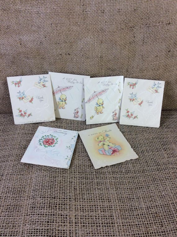 Beautiful vintage cards, vintage, satiny tiny little vintage thank you, anniversary and baby gift cards, vintage mid century greeting cards
