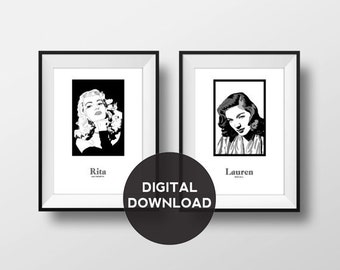 Actresses of the Silver Screen - Illustration with Name – Katharine Hepburn, Bacall, Dietrich and Rita Hayworth - Download