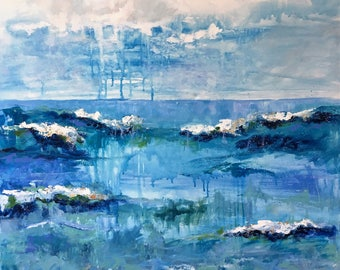 Blue Ocean/36x48/Original Acrylic Painting/Large/Gallery Wrapped/beach/waves/fine art/impressionism/stormy/drips/sea/sand