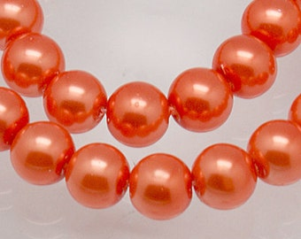 8mm Orange Glass Pearl Beads - 16 inch strand