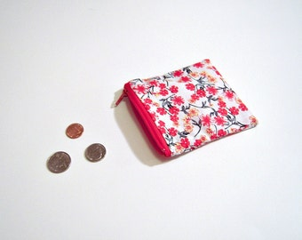 Coin Pouch in Red and White Floral