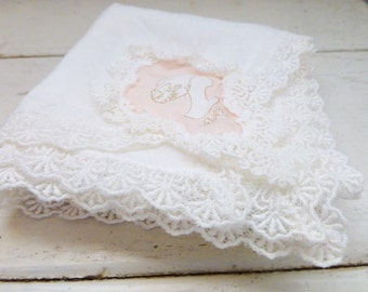 Mouchoir de femmes, dames mouchoir, mouchoir de poche, le linge de maison, mouchoir en tissu monogrammé, rétro, accessoire pour femmes