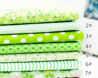 Green Fabric Spring Green Bundle Flowers Fabric Cotton Fabric Sets for 7 each for Quilting Cloth Bag 50X50cm bf03