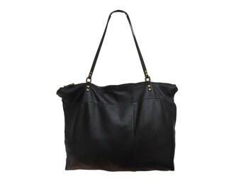 ZARA Tote in Eco-Friendly Black Leather