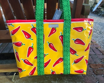 Red hot chile pepper--- large oilcloth tote bag
