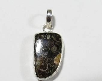 Natural Turitella Fossil Agate Gemstone, Turitella Sterling Silver Pendant, 40x17mm, Turitella Gem Necklace, Turitella Agate Fossil Jewelry